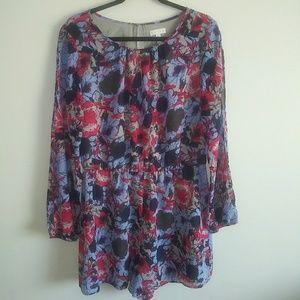 Long Sleeve Romper Shorts Pink Blue size Large